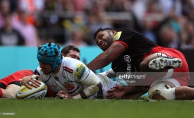 during the Aviva Premiership final match between Saracens and Exeter Chiefs at Twickenham Stadium on May 28, 2016 in London, England.