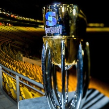 The Super Rugby Trophy on the evening before the final between the Hurricanes and Lions Super Rugby teams, at Westpac Stadium, Wellington, New Zealand on Friday, 5 August 2016. Photo: Dave Lintott / lintottphoto.co.nz